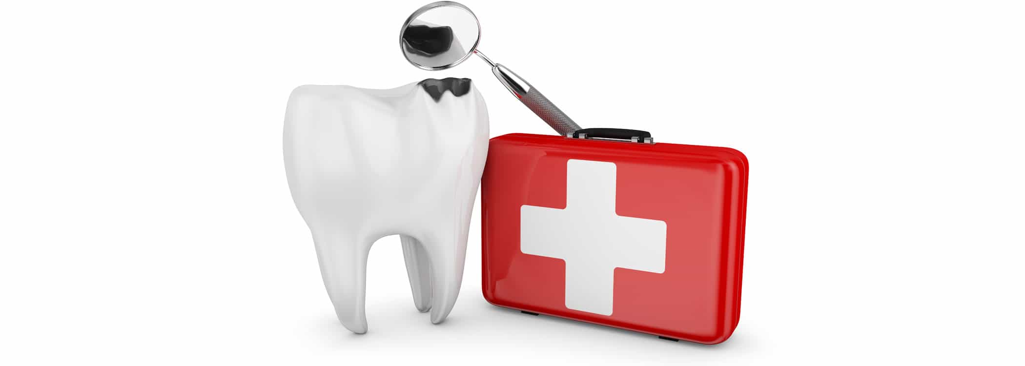 Dental Emergency - image of Tooth, first aid kit, and magnifier.